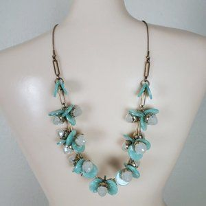 NWT Faux Green Sea Glass Statement Necklace